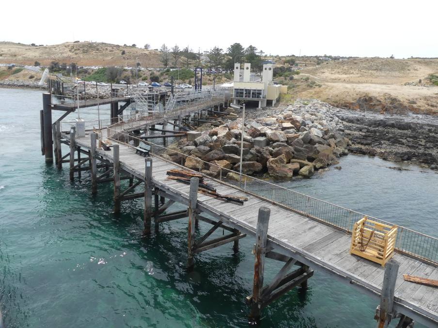 Repair works at the Cape Jervis ferry terminal by DPTI saw new passenger gantry installed on Friday and rusty steel removed. Photo: Stan Gorton