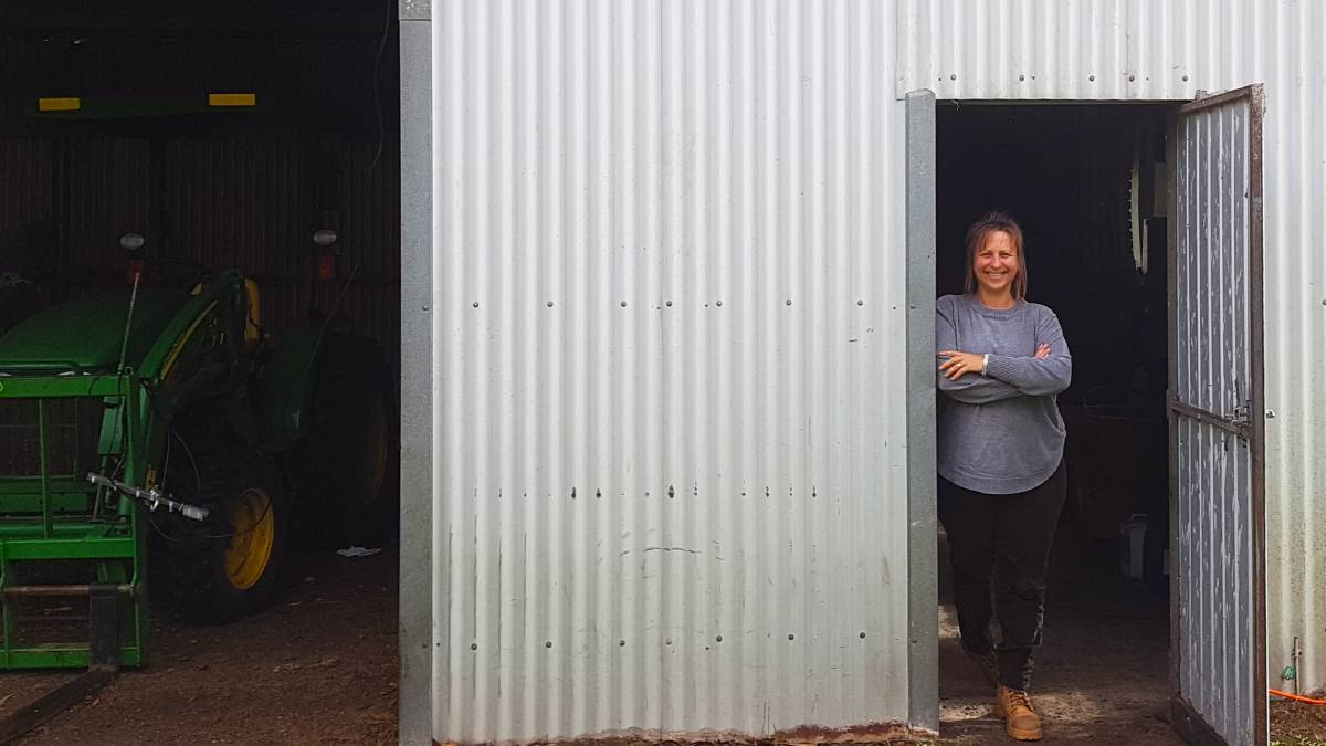 STORMBIRD HQ: Margi Prideaux in the door to the remaining shed on their farm, now the temporary HQ for Stormbird Press. Photo by Geoff Prideaux