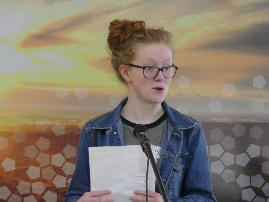 SCHOOL DUX: Ayisha Fearnside topped the class with an Australian Tertiary Admission Rank score of 99.95. She is pictured at the poetry slam at the KI Airport last year. File photo